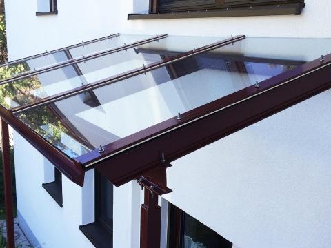 Glas-Stahl-Vordach-Glas-Voit