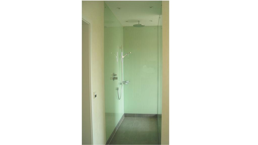 Walk-In-Dusche mit Glasrückwänden